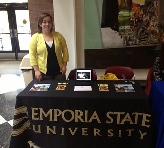 Amy Jo Troyer, Kansas City Admissions Counselor, visiting Johnson County Community College on Oct. 31, 2012