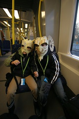 Gargoyles commuting to school (wrnking) Tags: halloween mask gargoyle cardboard