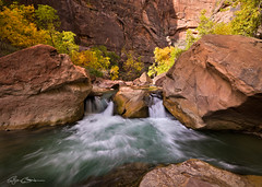 Zion Waterfall in Autumn (Bjrn Burton Photography) Tags: longexposure autumn trees fall utah waterfall foliage zionnat