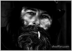 Beautiful  eyes (snapforu.com) Tags: street bw beard eyes candid homeless exhale inhale cigarettesmoke