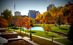 Autumn in Salt Lake City Park (Photo Dean) Tags: park autumn usa tree fall leaves skyline buildings landscape utah ut downtown saltlakecity 2012 lomoish memorygrove memorialgrove saltlakecounty
