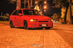 Dogan SOKMEN's 94 Astra GSI (Neu-Project) Tags: red black car night project low rim astra opel stance gsi worldcars hellaflush