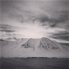 Landscape in Olafsfjrur (Northern Iceland. Gustavo Thomas  2013 ) (Gustavo Thomas) Tags: winter snow mountains square landscape iceland islandia squareformat nordic articcircle iphoneography instagramapp uploaded:by=instagram olafsjrdur
