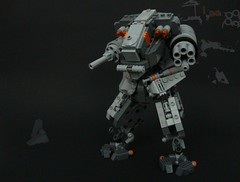 Battle Mech (aabbee 150) Tags: orange fire grey robot gun lego gray battle 150 flick mecha mech fits minifigure bley aabbee aabbee150