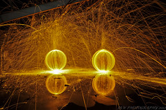 What a lovely pair of orbs (Explored!) (JRT ) Tags: reflection night wire nikon tripod warehouse spinning sparks derelict dhl nutters goldenglobes steelwool wirewool nuttyboys bidforduponavon d300s nightnutters steelwoolspinning wirewoolspinning wirewoolburning johnwarwood steelwoolburning thenightnutters