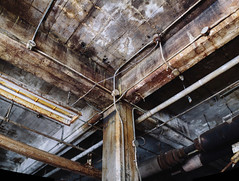Y and X (MightyBoyBrian) Tags: panorama grid lights pipes cement ceiling lookingup stitching 50mmf12 120 9images isometricview technicalview anerdslookattheworld matrixpanorama