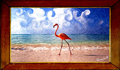 Flamingo Beach (Bob__Gilmour) Tags: sea seascape beach painting flamingo master pixel oldmaster vincentvangogh pixelbender photomanipulationsandskycloudsdutch