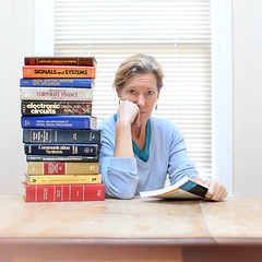 Old School (YetAnotherLisa) Tags: school portrait engineering books literature textbook stackofbooks salf odcourdailychallenge rabinerandgold holtelectronics