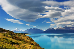 When the Wind is High (clearbluelight) Tags: blue newzealand sky lake reflection clouds reflections bluesky canterbury lakepukaki mountcook explore40324012013