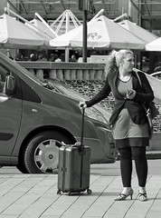 Just arrived (Dutch_Chewbacca) Tags: life street city girls summer people urban blackandwhite bw woman white black netherlands girl monochrome station canon eos women europa europe venus weekend feminine candid centre sunday den nederland citylife strangers july sigma sunny streetlife ponytail denbosch bosch 17th shertogenbosch urbanlife dlsr duketown straatfotografie