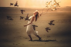 An Evening Stroll (sophie_merlo) Tags: surreal fantasy beach girl model models art artistic digitalart photoshop surrealist surrealism birds sunset seagulls gulls walk evening
