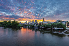 Yesterday's Sunset Over Kew (Leigh Cousins RAW) Tags: sunset riverthamessunset riverthames kewbridge kew kewwharf brentford brentfordait clouds skies burning fire vibrant