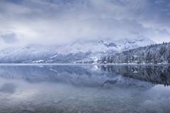 Bohinj Lake (santiandre97) Tags: landscape mountain slovenia sky snow winter lake lago montagna panorama paesaggio nikon nikond7200 blue inverno fog cloud water acqua mist