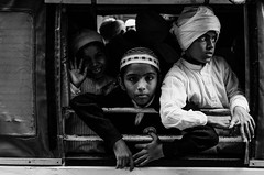 . (robbie ...) Tags: india varanasi muslim festival parade kids smiling happy haji turban traditional head wear black white monochrome bw fuji xt10 fujifilm street portrait photography