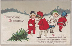 ELLEN CLAPSADDLE CUTE CHRISTMAS TREE KIDS foraging for this years Christmas Tree Christmas Greetings Christmas Cheer International Art Card Series 1937 Postmarked 1920 (UpNorth Memories - Donald (Don) Harrison) Tags: vintage antique postcard rppc don harrison upnorth memories upnorth memories upnorthmemories michigan history heritage travel tourism michigan roadside restaurants cafes motels hotels tourist stops travel trailer parks campgrounds cottages cabins roadside entertainment natural wonders attractions usa puremichigan