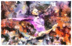 Amazing Gold Gymnast (Leo Bar) Tags: artwork art gymnastics olympics riodejaneiro painting pixinmotion leobar colors compositing texture textura netartii goldmedal simonebiles