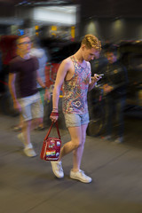 DSC02522 v2 (Wheels Down) Tags: twink candid nyc streetphotography photoshop bag shorts tanktop sneakers guy male hottie cute