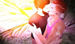 Kissing and Canoodling (niki wirefly) Tags: fae fairy fairey male fantasy couple colour secondlife men people lufian logo wings niki love sl