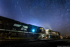 Norfolk Southern Under Stars (Brandon Townley) Tags: trains railroad ns norfolksouthern stars startrails night longexposure light marion ohio
