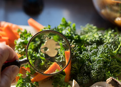 Clues (*Jilltoo) Tags: key magnifyingglass magnified hand holding kale broccoli vegetables carrot dinner kitchen utata:project=ip241