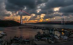 UMT_7724-2 (UmitCukurel) Tags: bridge turkey istanbul bosphorus sony nikon lightroom d750 sonyalpha bogazici kopru night poyrazkoy battleship gemi sky sunset dusk gunbatimi cloud
