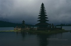 Bali, Bedugul Temple (blauepics) Tags: indonesien indonesia indonesian indonesische bali island bedugul hindu religion temple tempel tower turm pagoda pagode lake see water wasser cloud wolke 1991