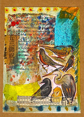 (Jason Lupi) Tags: art collage jasonlupi paint vintage cutpaste copper gold silver leaf waxgilt paper books pages penink scratch rub texture birds newspaper greetingcard