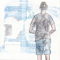 # 246 (02-09-2016) (h e r m a n) Tags: herman illustratie tekening bock oosterhout zwembad 10x10cm 3651tekenevent tegeltje drawing illustration karton carton cardboard back rug rucke ruggenfiguur ruckenfigur boy jongen