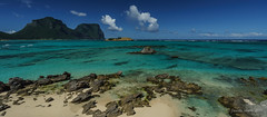 Lord Howe Island (NettyA) Tags: lordhoweforclimate 2016 day5 lhi lordhoweisland unescoworldheritage panorama thelagoon mtgower mtlidgbird beach sand rocks landscape seascape sea clouds polarizing filter water turquoise nsw newsouthwales australia sonya7r