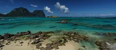 Lord Howe Island (NettyA) Tags: lordhoweforclimate 2016 day5 lhi lordhoweisland unescoworldheritage panorama thelagoon mtgower mtlidgbird beach sand rocks landscape seascape sea clouds polarizing filter water turquoise nsw newsouthwales australia sonya7r