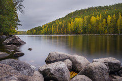Reflected colors (laurilehtophotography) Tags: nature fall autumn landscape mountain colos naturephotography stone trees forest sky clouds river longexposure nikon nikkor 1755mm f28 haida neutral density filter vaajakoski suomi finland jyvskyl d5100