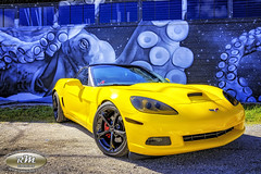 Monicas Corvette with the Octapuss in HDR copy (RoryMad Studios) Tags: hdr corvette chevrolet yellow murals shineproject shine stpetersburg florida