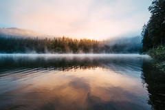 Morning at Lake Cauma (noson.photo) Tags: sunrise morning water reflection reflections colors fog foggy lake graubnden switzerland nikon tokina caumasee calm