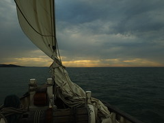 Sailing into the sunset..... after a long long day... Portsmouth to Yarmouth via Bembridge... (Sue - happy sparrow) Tags: sailing solent boat sail sunset weather storm hampshire sea tide september