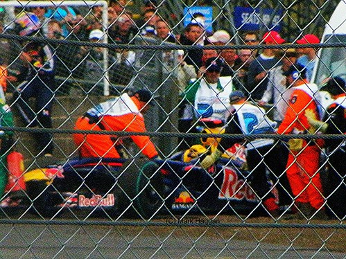 Mark Webber's Red Bull is rescued after Friday's second free practice session at the 2009 British Grand Prix