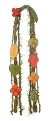 Long and Leafy Scarf- Pear Green with Golden, Orange, and Green Embroidered Leaves (Betsie Withey) Tags: orange motion green nature leaves yellow forest scarf leaf embroidery inspired knit free fairy etsy fiberart embroidered faerie enchanted betsiewithey