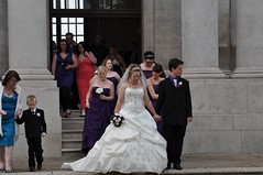 Newlyweds leave the building (bryanpage) Tags: flowers wedding tiara children groom harrison bridesmaid bouquet weddingdress bridegroom harrisonhendrixpage harrisonpage sandrachilds evecooper bryanpage sarahpenney williamsonpark ashtonmemorial liannecribbs danthomas michellepage ambertunn
