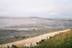Stones (Alice Horton.) Tags: england beach nature water field lensbaby canon river landscape dof stones mark north ii edge 5d 80 depth wirral caldy