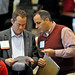 NC State's Mike Giancola (right) goes over the second day agenda with Stop Hunger Now's Rod Brooks.