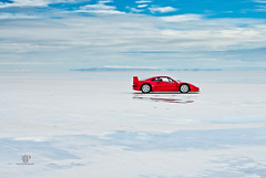 Ferrari F40 | Desolate (Folk|Photography) Tags: blue sky reflection car clouds mirror utah folk profile salt automotive ferrari professional flats gil desolate bonneville f40 worldcars