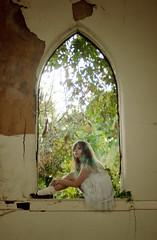 (yyellowbird) Tags: selfportrait abandoned church window girl leaves illinois cairo cari
