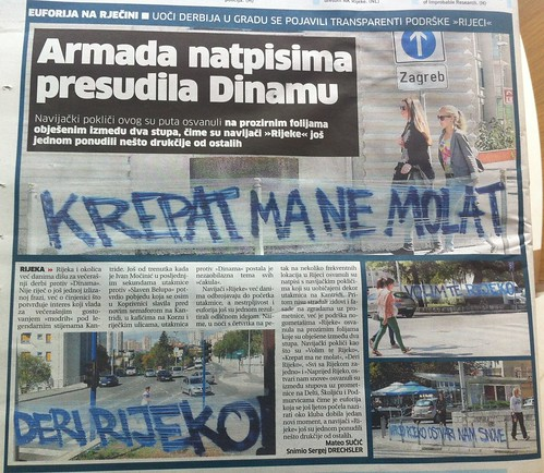 Armada natpisima presudila Dinamu (Novi List, 22.09.2012)