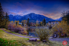 Good morning, Canmore! (Kasia Sokulska (KasiaBasic)) Tags: travel sky canada mountains fall nature architecture sunrise town pond highlights alberta rockymountains canmore