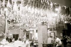 Ham on the ceiling (custom-build) Tags: world longexposure blackandwhite bw film 35mm spain rangefinder olympus ham andalucia malaga olympusxa film35mm canoscan5600f film400iso
