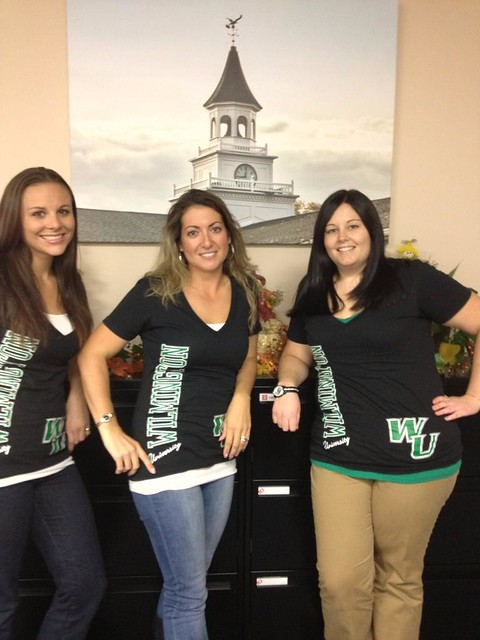Brielle Lee, Christina Darrah and Nicole Walker from the Middletown location show off their school spirit in WU shirts.