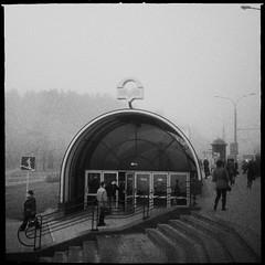 Subway entrance (denisperekhrest) Tags: bw white black subway entrance noflash streetphoto belarus minsk makebeautiful iphoneography hipstamatic us1776film janelens