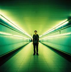 O'Donnell (Leo Uehara) Tags: madrid portrait man film rolleiflex mediumformat square iso100 vanishingpoint xpro fuji metro squareformat crossprocessing provia 120mm