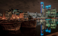 Pan Peninsula (Scott Baldock) Tags: uk nightphotography light england reflection london art dogs architecture marina docks landscape boats lights nikon neon south royal quay east wharf gb docklands pan canary canarywharf peninsula riverthames isle e14 lightroom isleofdogs londonarchitecture d5000 limeharbour bestevercompetitiongroup