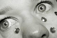 Day 301 - Rhinestone Tears (NeverTheGroom) Tags: bw white selfportrait black monochrome closeup nose grey blackwhite eyes tears lashes skin thenetherlands spots contacts eyebrows rhinestones 2012 davey 1930 manray flaws 366photochallenge neighya rememberthatmomentlevel1