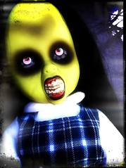 Happy Halloween from Dee. Eeek! (welovethedark) Tags: halloween doll iphone deek creepydolls livingdeaddolls iphonecamera iphonecameraapps greendolls